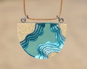 The Waterway - Contemporary beach necklace with pendant handmade from sand and aqua blue resin on cord