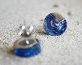 Shoal Earrings - Small stud earrings handmade from beach sand and ultramarine blue resin