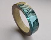 The Estuary - Chunky resin bangle handmade from beach sand and aqua blue resin