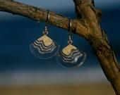 Bight Earrings - Dainty dangle beach earrings handmade from sand and blue resin