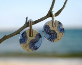 Isthmus Earrings - Large statement earrings handmade from beach sand and ultramatine blue resin