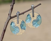 Isthmus Earrings - Large statement earrings handmade from beach sand and aquamarine blue resin