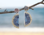 Inlet Earrings - Modern statement earrings handmade from beach sand and blue resin