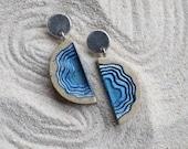 Inlet Earrings - Modern statement earrings handmade from beach sand and blue resin