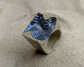 Rift Ring - Chunky statement ring handmade from beach sand and ultramatine blue resin