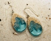 Seashore Earrings - Unique dangle tear drop earrings handmade from beach sand and aqua blue resin