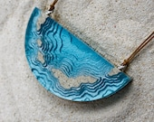 The Archipelago - Chunky statement necklace handmade from beach sand and aquamarine blue resin