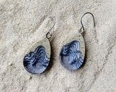 Seashore Earrings - Unique dangle tear drop earrings handmade from beach sand and ultramarine blue resin