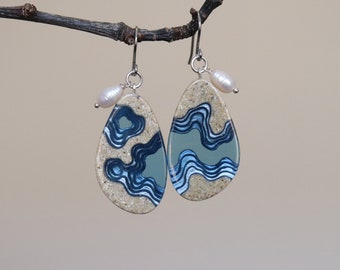 Rockpool earrings - statement earrings crafted from beach sand and ultramarine blue resin with freshwater pearls on allergy friendly hooks