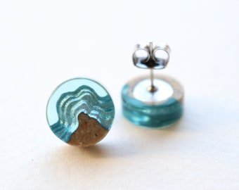 Shoal Earrings - Small stud earrings handmade from beach sand and aqua blue resin