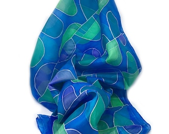 Hand painted SILK SCARF with botanical-geometrical pattern