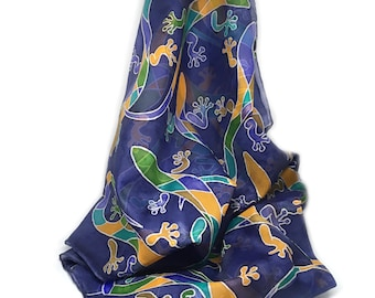 Hand painted SILK SCARF with lizard pattern
