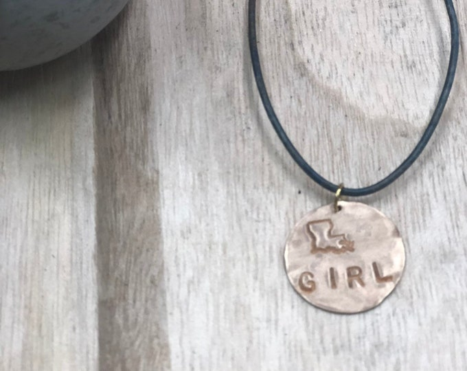Louisiana Girl Leather Necklace