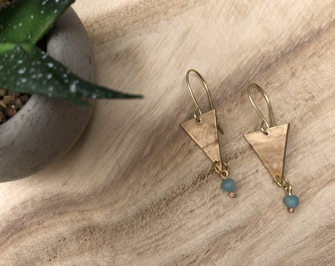 Triangle Earrings, Dangle Earrings, Geo Shape Earrings, Chrystal Earrings, Boho Earrings