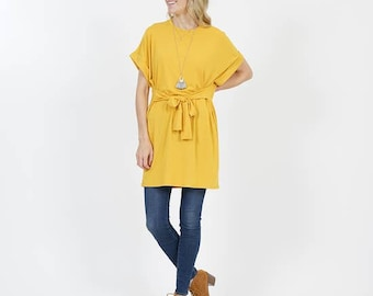 Waist tie fold-over sleeve tunic