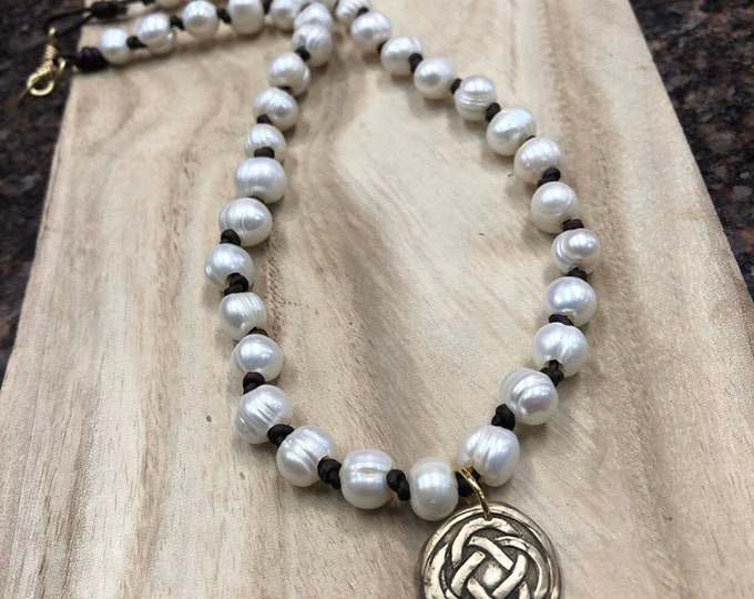 Leather Knotted Pearl Necklace, Leather and Pearl Necklace, Celtic Knot Necklace, Pearl Necklace, Medallion Necklace, Brushed Gold