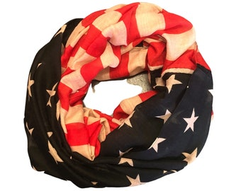 Vintage Style American Flag Scarf