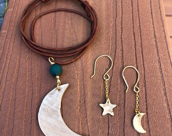 Moon Necklace, Leather Necklace, Bronze Moon