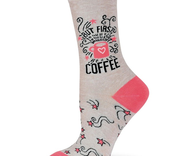 But First Coffee Crew Socks