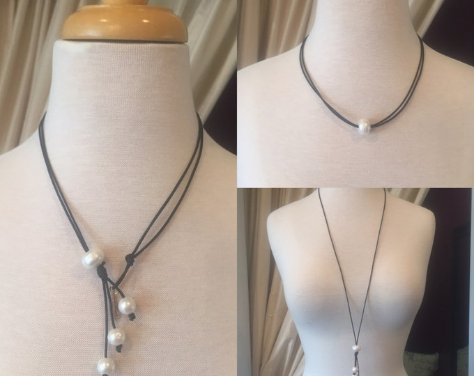 3 Way Pearl Necklace, Adjustable Necklace, Pearl and Leather Necklace, Long Pearl Necklace, Pearl Choker, Freshwater Pearl Necklace