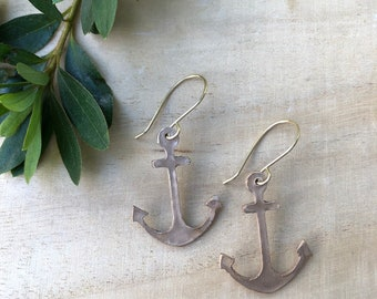 Anchor Earrings, Gold Earrings