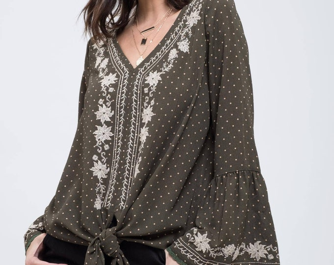 Dotted Embroidered Bell Sleeve Top