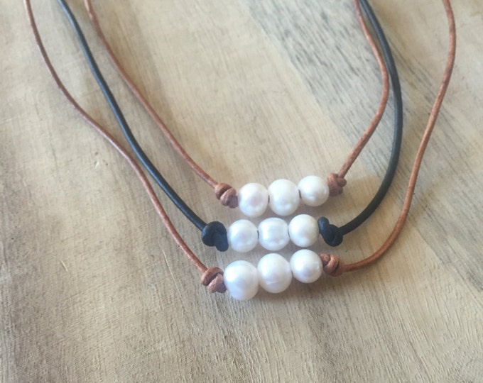 Triple Pearl Leather Necklace