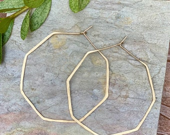 Hexagon Hoop Earrings in Sterling Silver or 14 K Gold Filled Classic Hammered Thin Hoop Earrings, Hoop Earrings, Large Hoop Earrings, Rose
