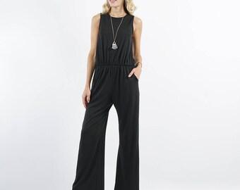 Sleeveless Waist Elastic Pocket Jumpsuit with back key hole