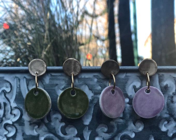 Mardi Gras Circle Earrings