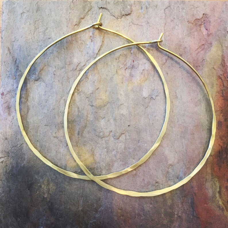 Classic Hammered Hoop Earrings Thin Hoop Earrings Large Hoop image 1