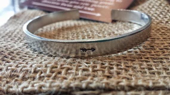 Arrow Bracelet Cuff, Stamped Cuff, Stamped Bracelet, Cuff Bracelet, Personalized Bracelet, Arrow Bracelet, Silver Bracelet