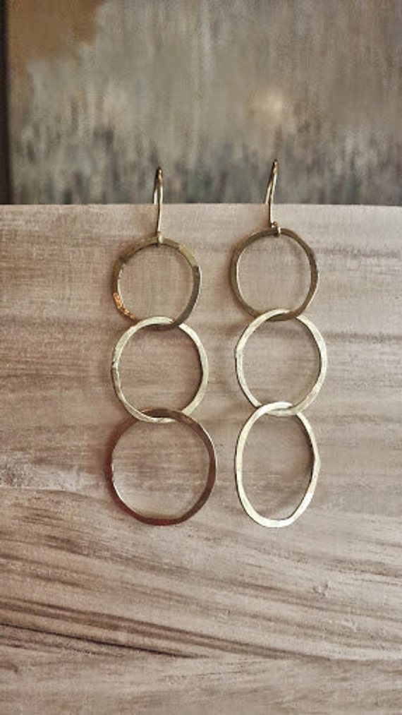 Triple  Hoop Hammered Earrings