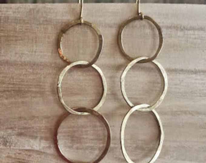 Triple  Hoop Hammered Earrings, Hoop Earrings, Gold Earrings, Gold Hoop Earrings, Hand Soldered Earrings, Brushed Gold Earrings
