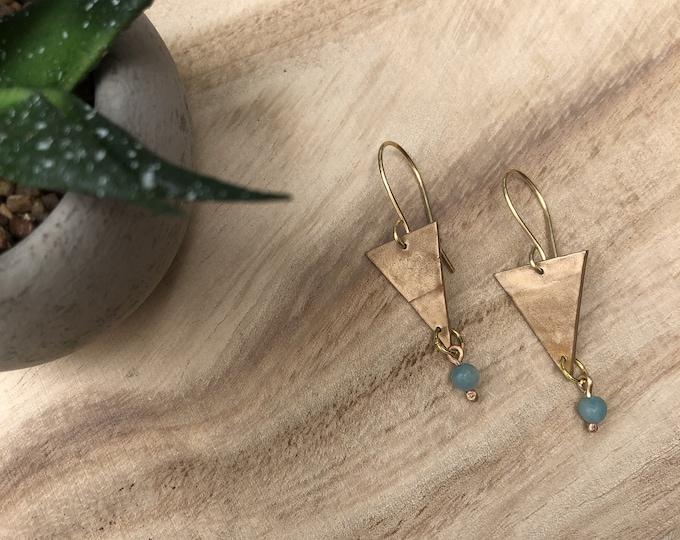 Triangle Earrings, Dangle Earrings, Geo Shape Earrings, Chrystal Earrings, Boho Earrings