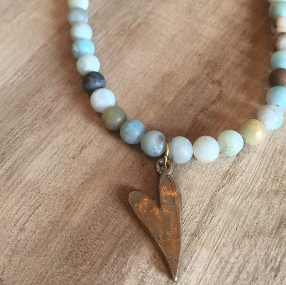 Heart and Amazonite Necklace