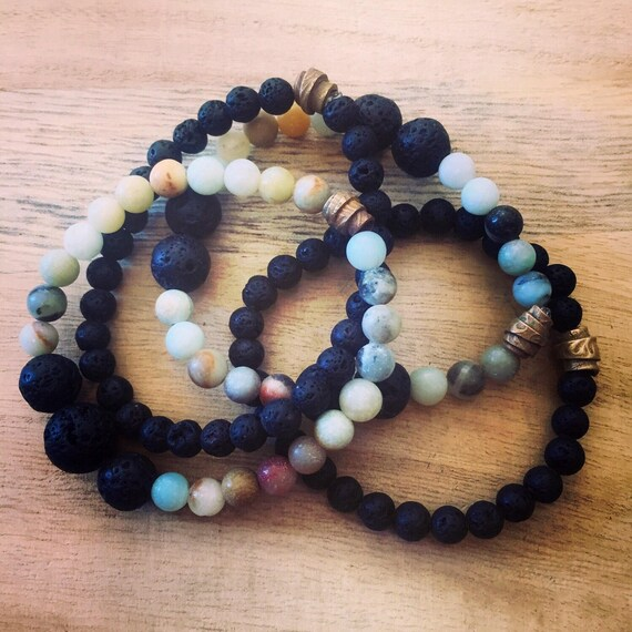 Lava Rock Bracelet, Essential Oil Bracelet, Stretch Bracelet, Stretch Lava Rock Bracelet, Stretch Essential Oil Bracelet, Lava and Amazonite