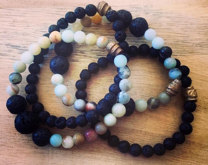 Lava Rock Bracelet, Essential Oil Bracelet, Stretch Bracelet, Stretch Lava Rock Bracelet, Stretch Essential Oil Bracelet, Lava and Amazonite
