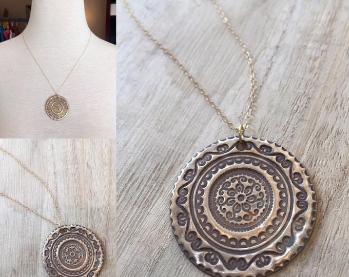 Mandala Necklace, Brushed Gold Necklace, Gold Necklace