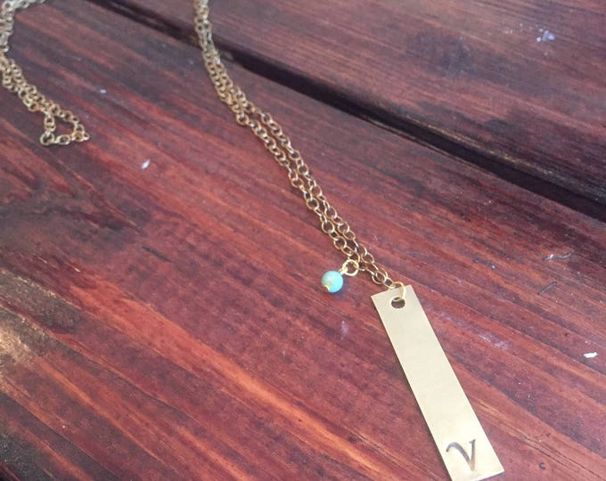 Long Initial Necklace, Long Gold Necklace, Initial Necklace, Personalized Necklace, Monogram Necklace, Necklace, Name Necklace, Bar Necklace