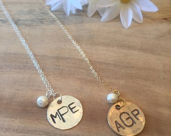 Monogram Necklace with Freshwater Pearl