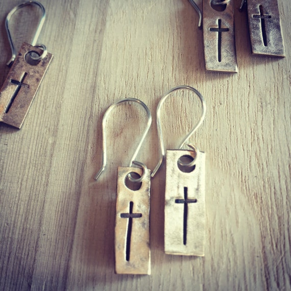 Gold and Silver Cross Stamped Earrings