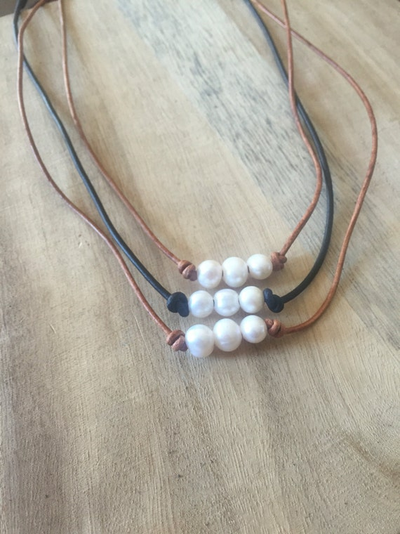 Triple Pearl Leather Necklace,Single Pearl Leather Necklace, Leather , Pearl & Leather Necklace, Pearl Necklace, Pearl Choker, Freshwater