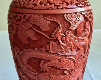 Chinese Cinnabar Vase Dragons China Vintage Asian Decor Hand Carved 9 inch 03530