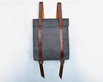 Geometric laptop backpack, gray beige or yellow rucksack, custom backpack 201