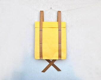 Laptop backpack, canvas rucksack, minimalist yellow backpack, custom backpack 201