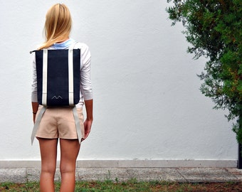 Minimalist backpack, 15'' laptop rucksack waterproof canvas and leather, zipper daypack 201
