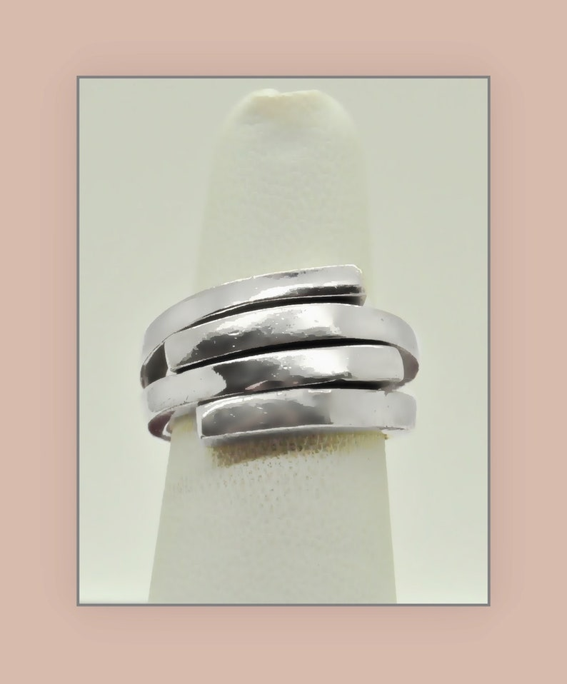 T1318 925 Sterling Silver Vintage Abstract Large Hinged Clip