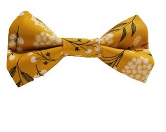 Pet Bow Tie Collar Accessories Grey Bow Tie Floral Bow Tie Dog Accessories Flower Bow Dog Bow Tie : Dainty Floral Fancy Grey X Mustard