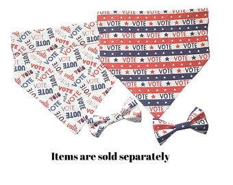 Go Vote Dog Bandana in Two Styles with an Optional Bow Tie